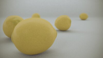 Adesivo 3 D render of Yellow lemons on a white background fell from  air and rolled on the white infinite surface.