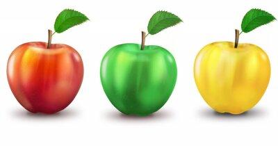 Adesivo 3 maçãs vermelhas, verdes, amarelas, opcional
