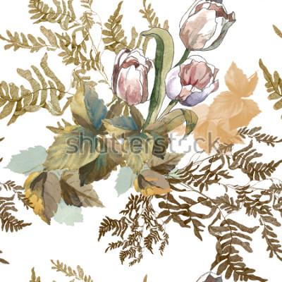 Adesivo 3 tulipas brancas e aquarela de grama no padrão sem costura de fundo branco para tecidos, papel
