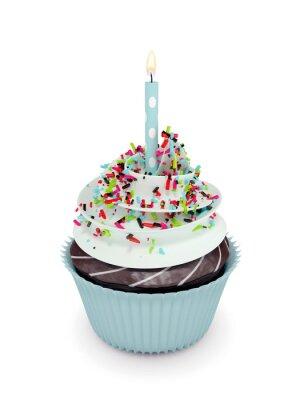 Adesivo 3d doce cupcake com vela isolada no branco