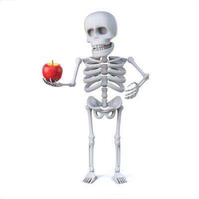 Adesivo 3d esqueleto trouxe uma maçã para o professor