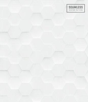 Adesivo 3d hexágono poligonal sem costura vetor padrão, fundo branco geométrico de negócios