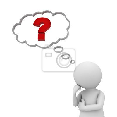 3d homem pensar com ponto de interrogação vermelho no balão de ...