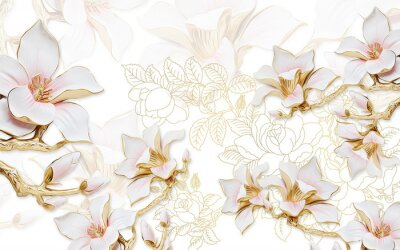 Adesivo 3d illustration, light background with the contours of peonies, large gilded pink magnolia flowers
