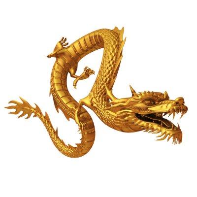 Adesivo 3d rendem do dragão dourado