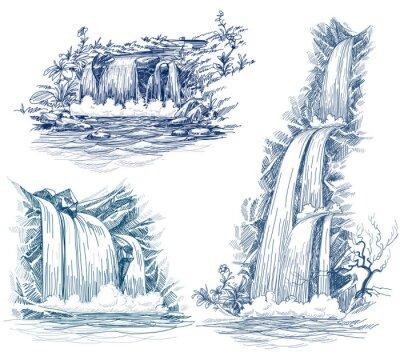 Adesivo A água cai de desenho vetorial
