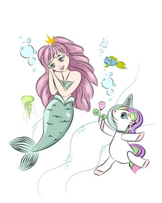 Adesivo A beautiful mermaid and a unicorn. The unicorn swims with a mermaid and gives her a flower. Postcard with a mermaid. Style doodle. Print for t-shirts and baby clothes, cards, posters and any design.