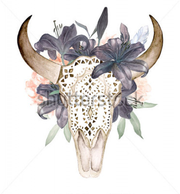 Adesivo A cabeça de touro isolada com flores e penas não fundo branco. Estilo Boho. Crânio ornamental em fundo preto para embrulho, papel de parede, t-shirts, têxteis, cartazes, cartões, impressões