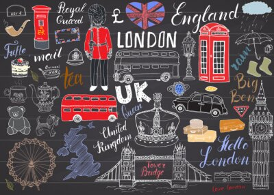 Adesivo A cidade de Londres doodles a coleção dos elementos. Mão, desenhado, jogo, torre, ponte, coroa, grande, ben, real, guarda, vermelho, ônibus, britânico, mapa, bandeira, chá, pote, lettering, vetorial,
