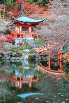 Adesivo A cor mudança licença de vermelho no templo japão.