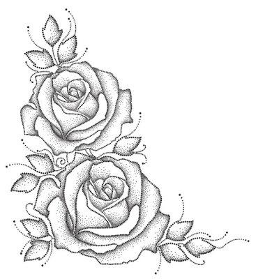 Adesivo A haste com pontilhou a flor cor-de-rosa e as folhas isoladas no fundo branco. Elementos florais no estilo do pontowork.