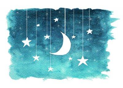 Adesivo A lua e as estrelas penduradas em cordas pintadas em aquarela no fundo branco isolado, fundo do céu noturno