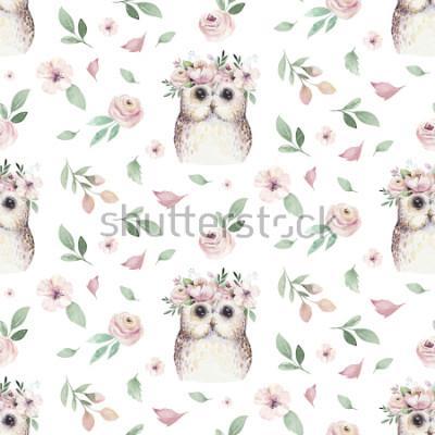 Adesivo A mão sem emenda da aquarela ilustrou o teste padrão floral com folha floral, as flores cor-de-rosa e a coruja pequena do bebê. Aquarela boho primavera papel de parede fundo botânico têxtil