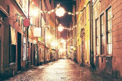 Adesivo A rua da noite em Gamla Stan, Éstocolmo.
