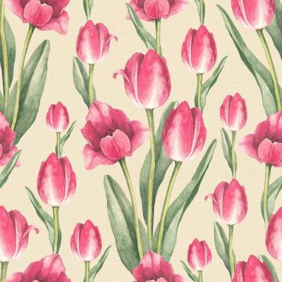 Adesivo A tulipa floresce a ilustração. Teste padrão sem emenda da aguarela