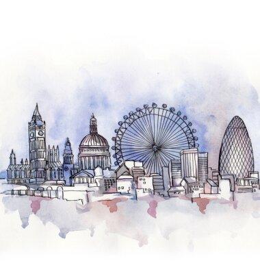 Adesivo A vista panorâmica de Londres aquarela da união europeia país isolado no fundo branco