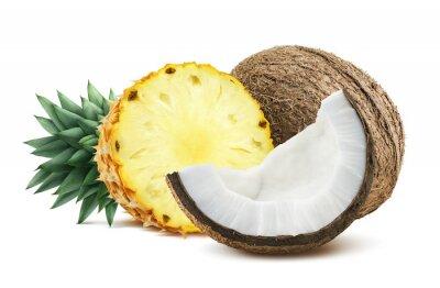 Adesivo Abacaxi, coco, pedaços, Composição, isolado, branca, backgro