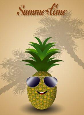 Adesivo Abacaxi engraçado para o verão