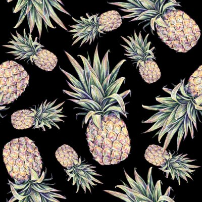Adesivo Abacaxis em um fundo preto. Ilustração colorida da aguarela. Fruta tropical. Seamless, Padrão