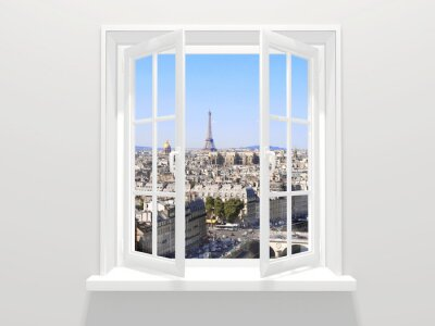 Adesivo Aberta, janela, vista, eiffel, torre, paris