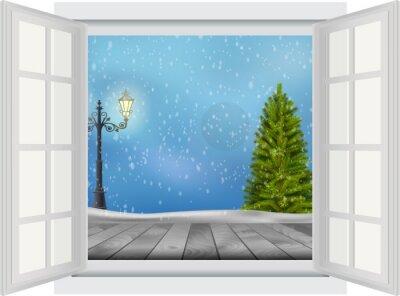 Adesivo Abra a janela da árvore de Natal e poste de luz no fundo de inverno