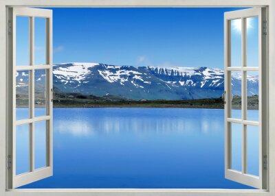 Adesivo Abra a janela vista panorâmica para montanhas da neve e lago