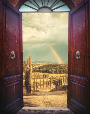 Adesivo Abra a porta e paisagem