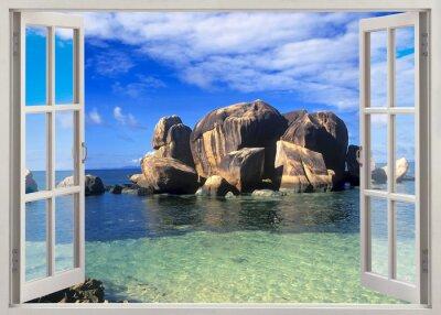 Adesivo Abrir a janela vista para a praia de Seychelles