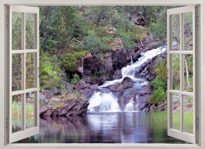 Adesivo Abrir vista da janela a cachoeira da montanha e lagoa