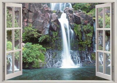 Adesivo Abrir vista da janela de cachoeira Cormoran, Reunion Islândia