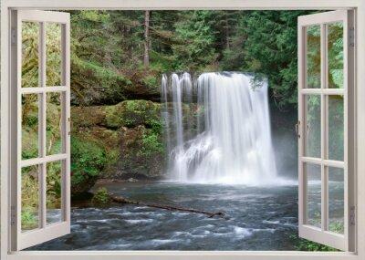 Adesivo Abrir vista da janela de Upper Falls e rio Notrh