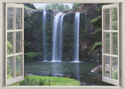 Adesivo Abrir vista da janela para Whangarei Falls, Northland Region (North Island), Nova Zelândia