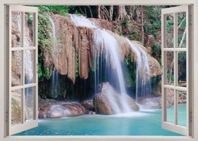 Adesivo Abrir vista de janela para Erawan Falls, Tailândia