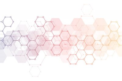 Adesivo Abstract background of science and innovation technology. Technical background with hexagons pattern and molecular structures.