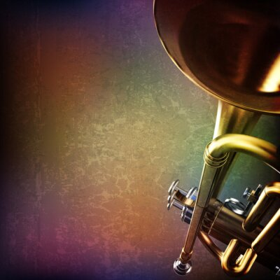 Adesivo abstract grunge background with trumpet