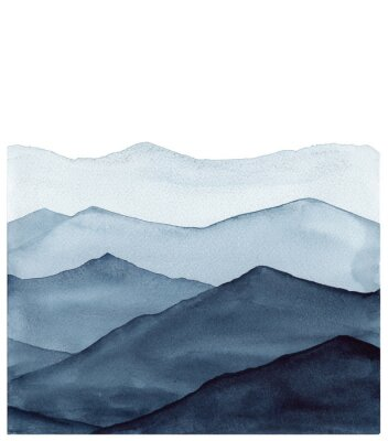 Adesivo abstract indigo blue watercolor waves mountains on white background