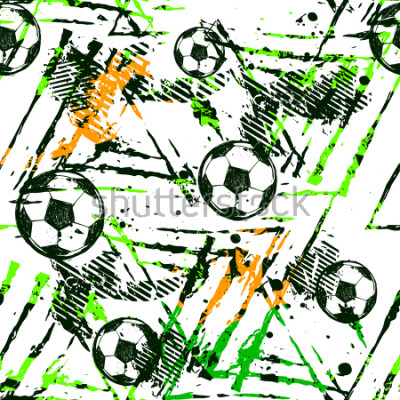 Adesivo Abstract seamless football pattern. Sport game wallpaper. Set of Soccer ball on grunge urban background,curved lines, shabby shape texture,  spray paint ink elements. boy repeated backdrop