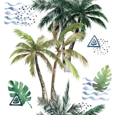 Adesivo Abstract tropical pattern with  palm trees. Watercolor seamless print. Jungle summer  background