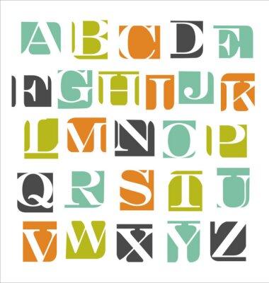 Adesivo abstrato cartaz alfabeto moderno
