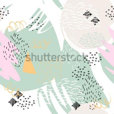 Adesivo Abstrato geométrico com pinceladas em estilo de Memphis. Padrão sem emenda de vetor com mão desenhada elementos. Cores pastel claras.