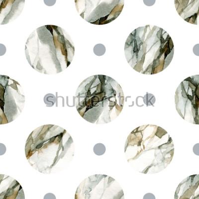 Adesivo Abstrato geométrico. Pintura de mármore de cor de água. Padrão sem emenda de círculo em aquarela. Círculos com cor de água marmoreio, grained, texturas de papel. Ilustração pintada à mão