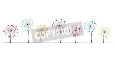 Adesivo Abstratos, coloridos, Coração, vetorial, fundo, dandelion, primavera, tempo