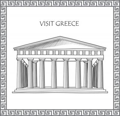 Adesivo Acrópole de Atenas, Grécia. Visite Grécia cartão. Ornamental Frame do vetor tradicional grego.