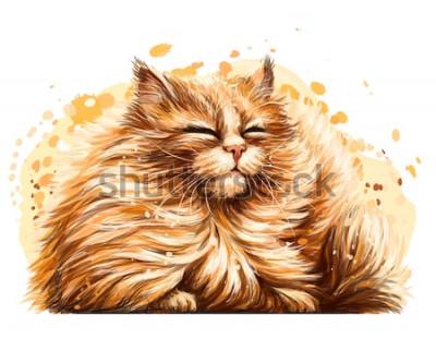 Adesivo Adesivo de parede. A cor, gráfico, desenho artístico de um gato macio bonito é vesgo consideravelmente no sol em um fundo branco com um pulverizador da aguarela.