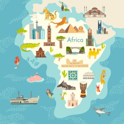 Adesivo Africa continent, world map with landmarks vector cartoon illustration. Abstract African landmarks, animals, sign and icon cartoon style.  Poster, art, travel card