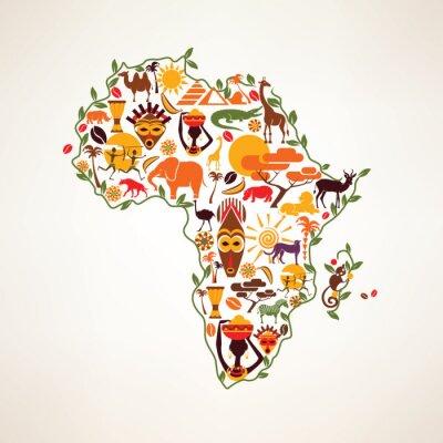 Adesivo África do mapa de viagem, símbolo decrative da África do continente com eth