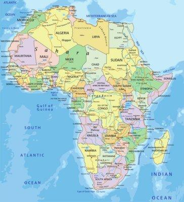 Adesivo África - mapa político editável altamente detalhado.