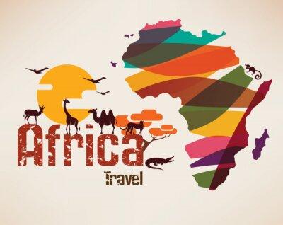 Adesivo África, Viagem, mapa, decrative, Símbolo, África, continente ...
