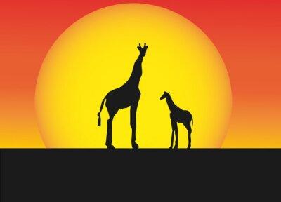 Adesivo Africano, girafas, silueta, paisagem