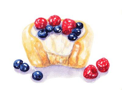 Adesivo Aguarela, fruta, torta, cheesecake, bagas, branca, fundo